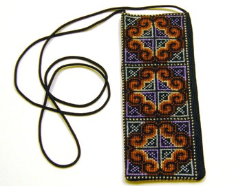 Cross Stitch Embroidered Eye Glass Case Pouch - (purple blue brown white)
