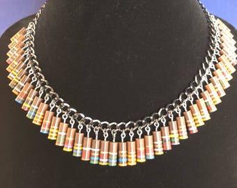 Vintage Electronics Necklace - Carbon Resistors Necklace - Egyptian - Beaded Necklace - Multi color - Avant Garde - Boho -