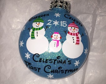 Personalized Baby's First Christmas family snowman ornament