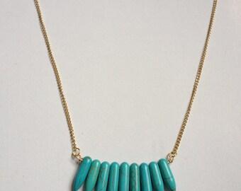 Turquoise fringe spike necklace