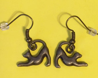 SueBero Playbow Greyhound or Whippet Dog Charm Fishhook Earrings, Bronze