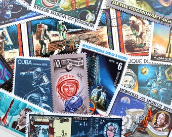 15x Vintage Postage Stamps Astronaut Shuttle Galaxy Moon Jupiter Planets Astronomy SpaceX Scrapbooking Vintage Paper Supplies Junk Journal