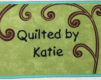 Quilt Label - Climbing Vine, Custom Made & Hand Embroidered
