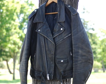 very cool 1980s leather rocker biker hipster leather jacket