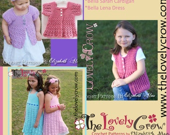 Crochet Pattern Dress Cardigan for Girls BELLA BUNDLE