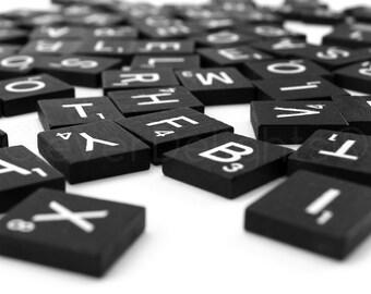100 Scrabble Tiles - Black Color - 1 Complete 100 Piece Set - Wood Pieces - Scrabble Letter Pieces - Game Craft Wedding Scrapbooking