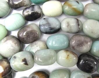 "14mm blue amazonite barrel beads 15.5"" strand 35085"