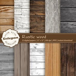 """wood backdrop """"Rustic Wood"""" digital scrapbook paper 12x12 printable wooden board texture nature sign pattern photography background download"""