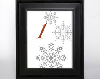 Printable Snowflake Table Number Wedding Decor Reception Sign Cards Landmark Icons 5x7 Instant Download Red and Gray