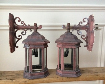 Vintage Lanterns with Beveled Glass
