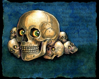 Skull monster art print 4.5x3.5, Me-kurabe: Staring skulls, Japanese yokai, Macabre painting, Halloween art, Oddity curiosity, Miniprint