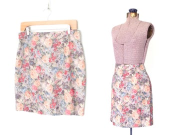 floral mini skirt * 80s pencil skirt * vintage 1980s skirt * brocade wiggle skirt * m /l