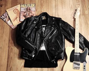 Vintage black leather motorcycle jacket/Leather2000/Bloomerz/Size:40/Medium