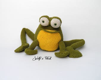 Original amigurumi frog. Animal woven crochet or crochet by Willy completo Flock in green cotton for children and babies.