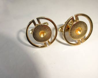 Vintage Cuff Links Round Gold Sunburst Cufflinks