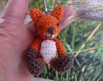 "Volpe, the little fox, crochet key chain,  9 cm 3,5 """