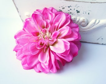 Large Pink Hair Flower Dahlia Clip, Pink Wedding Hair Flower Fuchsia