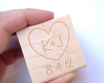 Large Custom Rubber Stamp. 4x4 Heart with Initials and Date. DIY Wedding Decor or Shower Decoration. Made to Order.