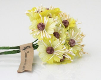 24 Yellow Millinery Fabric Flowers