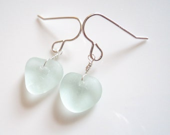 Seaham Sea Glass hook earrings of Pale Pastel Aqua Heart shape drops suspended from Sterling Silver hooks - E1792 - from Seaham,  UK