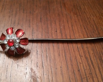 Silver Metal Flower Bookmark / Red Rhinestones / Flowers / Flower / Bookmark / Fancy Bookmark / Birthday / Christmas / CIJ / Gift / Reader