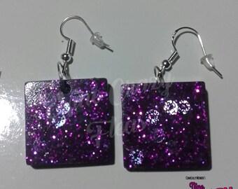 Purple Glitter & Blue Sequin Earrings