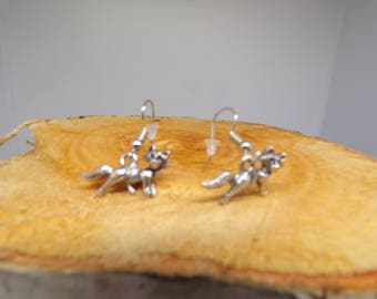 Earrings with Fox pendant
