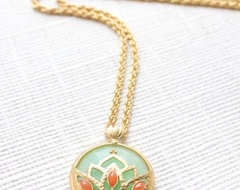 Lotus Necklace, Lotus Flower Necklace, Mint Necklace, Layering Gold Necklace, Lotus Necklace Gold, Lotus Jewelry, Flower Necklaces, LN15-MT