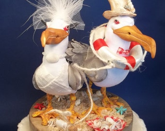 Cake Topper Bird Seagull Custom Made to order FerdiBird Beach Comber message in a bottle