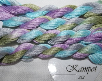 252 – Kampot, Fils à Soso hand dyed variegated stranded cotton, 8 metre skein. Lovely blend of pastel colours. Hand dyed yarn, cross stitch