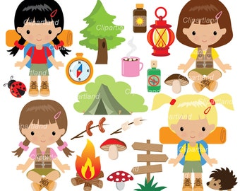 INSTANT Download. CC_22_camping_girl. Camping clip art. Personal and commercial use.