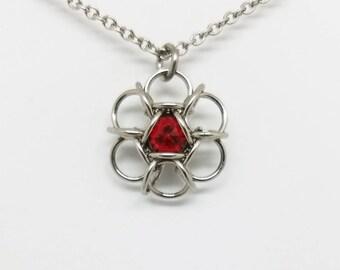Hexapetalon Chainmaille Scarlet Red Swarovski Stainless Steel Pendant