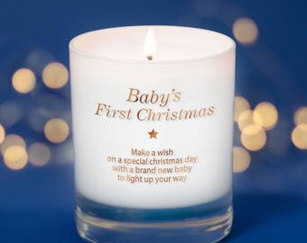 Baby's First Christmas Candle, Christmas Gift For Baby, First Family Christmas, New Grandparents Gift, Make a Wish Scented Candle,