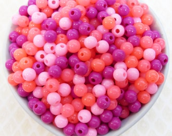 300x 6mm Tiny Pink Carnival Coloured Resin Multi color Globe beads .. Super Bright
