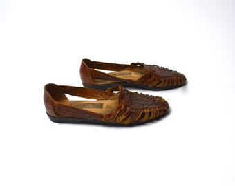 Woven Leather Basket Shoes by Leather Collection // Genuine Leather Basket Shoes // Leather Flats // Size 6