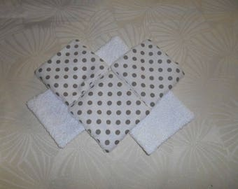 set of 6 wipes cleansing bamboo - white polka dot taupe