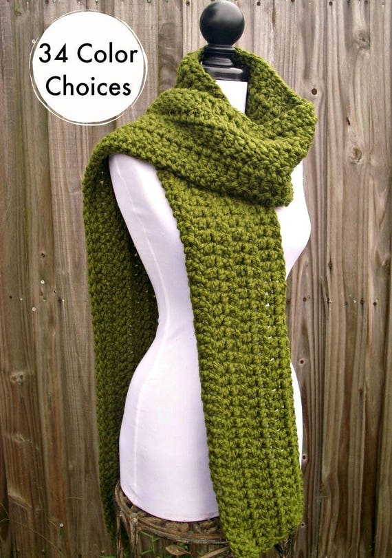 Womens Oversized Crochet Chunky Scarf - New Englander Olive Green Scarf - Womens Accessories Fall Fashion Winter Scarf - 34 Color Choices