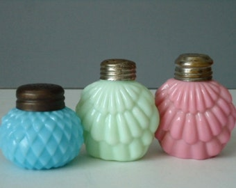 Opaque Glass Salt and Pepper Shakers - Consolidated Glass Shakers - Antique Glass Salt Shakers