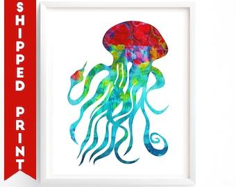 PRINT Jellyfish print, Gender Neutral Nursery Wall Art, Ocean Themed Nursery, Sealife, Sea Creatures Art, Red Blue Nursery Art