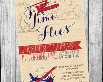 Vintage Airplane Invitation