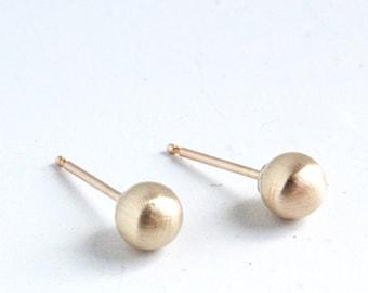 Gold Earrings ( 5mm ) - Matte Gold stud Earring - simple gold studs - brushed gold earrings - gold studs