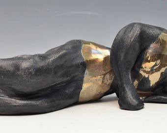 Abstract Black and Gold Reclining Buddha in Raku Ceramics