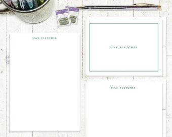 complete personalized stationery set - PERFECTLY SIMPLE on WHITE  - personalized stationary set - note cards - notepad - couples stationery