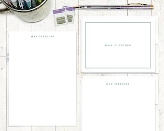 ensemble complet papeterie personnalisée - parfaitement SIMPLE sur WHITE - personnalisé ensemble stationnaire - note cartes - bloc-notes - couples papeterie