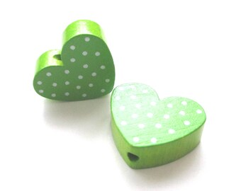 Heart polka dots - Apple green & white wooden bead
