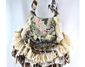 Hippie Lace Large boho Festival Gypsy fringe, Crossbody Strap, Long soft Fringe Beaded Green, Brown, Tan, Handbag Upcycled Purse gypsy goods