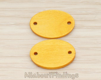 PDT1753-YO // Yellow Ocher Colored Wood Oval Double Holes Light Weight Connector Pendant, 4Pc