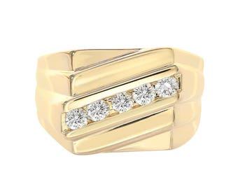 0.55 Carat Round Cut Diamond Channel Setting Mens Ring 14K Yellow Gold