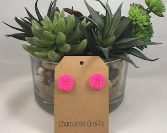 Chrysanthemum Earrings Hot Pink