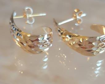 14K Gold J Hoop Earrings, Real 14k Gold Earrings, Hammered textured design, Vintage 14k gold earrings, Retro Gold, Modernist Jewelry